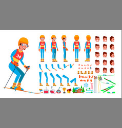 skiing player male animated character vector image