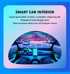 Smart car cockpit interior flat cartoon vector