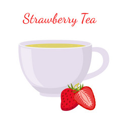 Strawberry tea in cup with berries vector