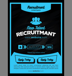 Strong and bold blue recruitment poster or flyer vector