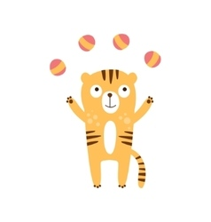 Tiger Juggling With Four Balls vector image