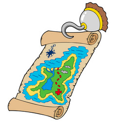 Treasure map with pirate hook vector