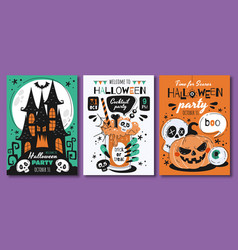 triplet scary halloween poster designs vector image