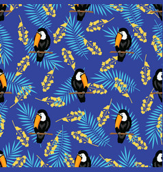 tropical pattern with toucan birds vector image