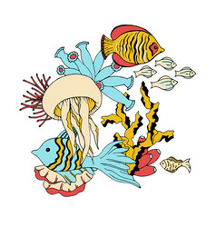 Underwater sea life animals vector
