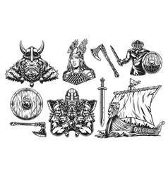 vikings vintage elements set vector image