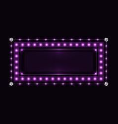 Violet sparkling neon frame vector
