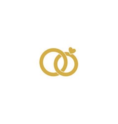 Wedding logogold wedding ringsstylized vector