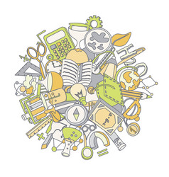 welcome back to school hand drawn supply doodles vector image