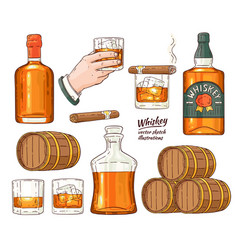 whiskey alcohol symbols sketch icon set vector image