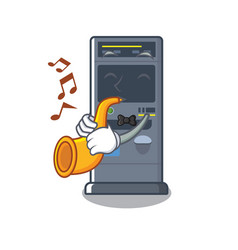 With trumpet parking vending machine isolated vector