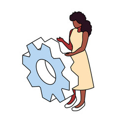 Woman with gearwheel on white background vector