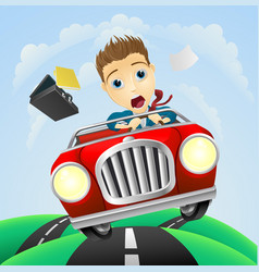 Young businessman driving fast classic car vector
