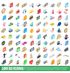 100 dj icons set isometric 3d style vector image