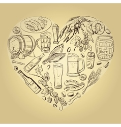 beer hand drawing Heart Background vector image