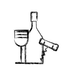 contour wine bottle and glass with corkscrew vector image vector image