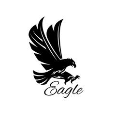 Eagle hawk black heraldic icon vector