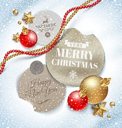Cardboard labels with Christmas greeting vector image vector image