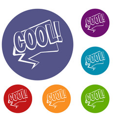 Cool comic text speech bubble icons set vector