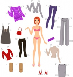 dress up paper doll vector image