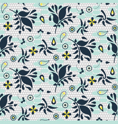 floral lace blue mesh seamless pattern vector image vector image