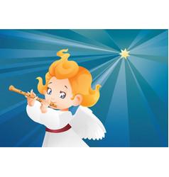 kid angel musician flutis flautist flying on a vector image vector image