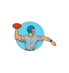 quarterback qb throwing ball motion circle drawing vector image vector image
