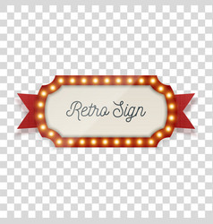 retro sign with light bulbs and ribbon vector image
