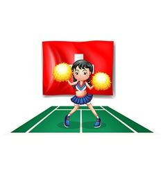 A cheerleader dancing in front of the Switzerland vector image