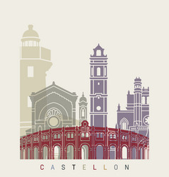 castellon skyline poster vector image vector image