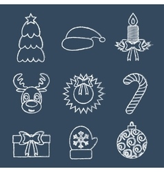 Christmas line icons written in chalk vector