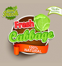 fresh cabbage logo lettering vector image