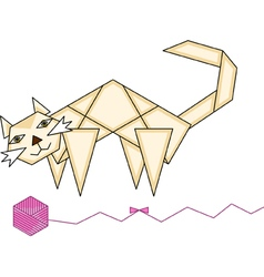Paper cat and yarn ball vector