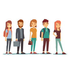 queue of young people waiting women and men vector image vector image
