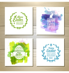 Set of easter watercolor decorative cards vector image