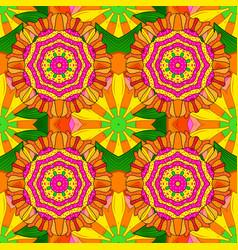 sketch of colored mehndi mandala on orange yellow vector image