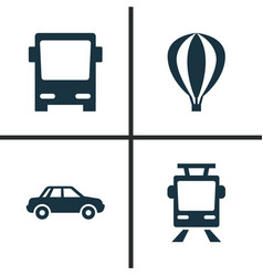 Transport icons set collection of streetcar vector