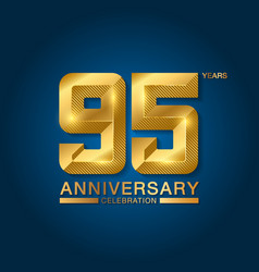 95 years anniversary celebration logotype golden vector image
