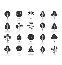 abstract tree black silhouette icons set vector image