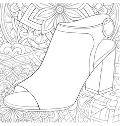 Adult coloring bookpage a cute shoe vector