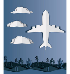 Airplane flying with clouds and landscape vector