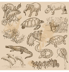 An hand drawn pack - ANIMALS vector image