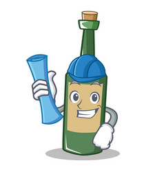 Architect wine bottle character cartoon vector