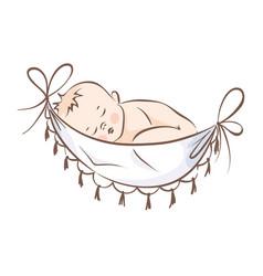baby sleeping in a hammock vector image