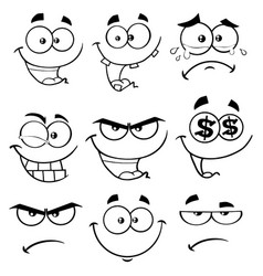 black and white funny face collection -1 vector image