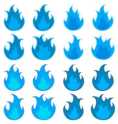 Blue fire flames vector