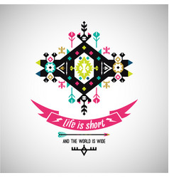 bright decorative element on native ethnic style vector image