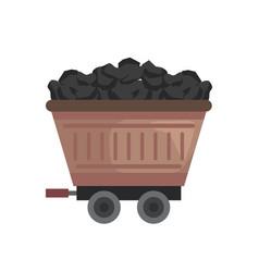 Brown mine wagon vector