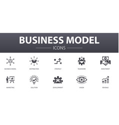 Business model simple concept icons set contains vector