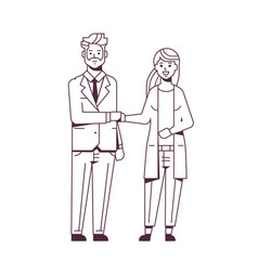 Businesspeople man woman handshaking business vector